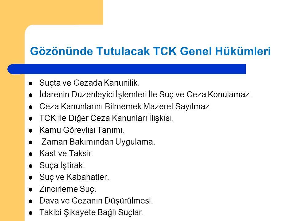Gözönünde Tutulacak TCK Genel Hükümleri Suçta ve Cezada Kanunilik.