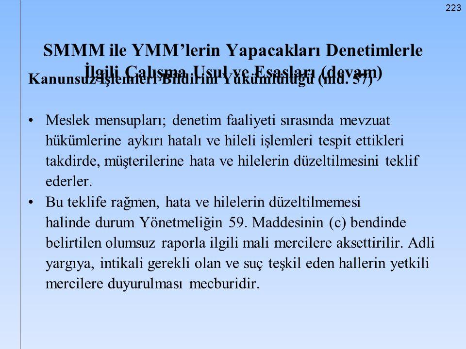 223 SMMM ile YMM'lerin Yapacakları Denetimlerle İlgili Çalışma Usul ve Esasları (devam) Kanunsuz İşlemleri Bildirim Yükümlülüğü (md. 57) Meslek mensup