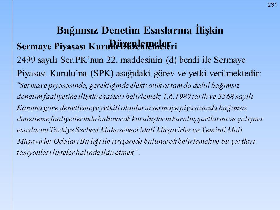 231 Bağımsız Denetim Esaslarına İlişkin Düzenlemeler Sermaye Piyasası Kurulu Düzenlemeleri 2499 sayılı Ser.PK'nun 22. maddesinin (d) bendi ile Sermaye