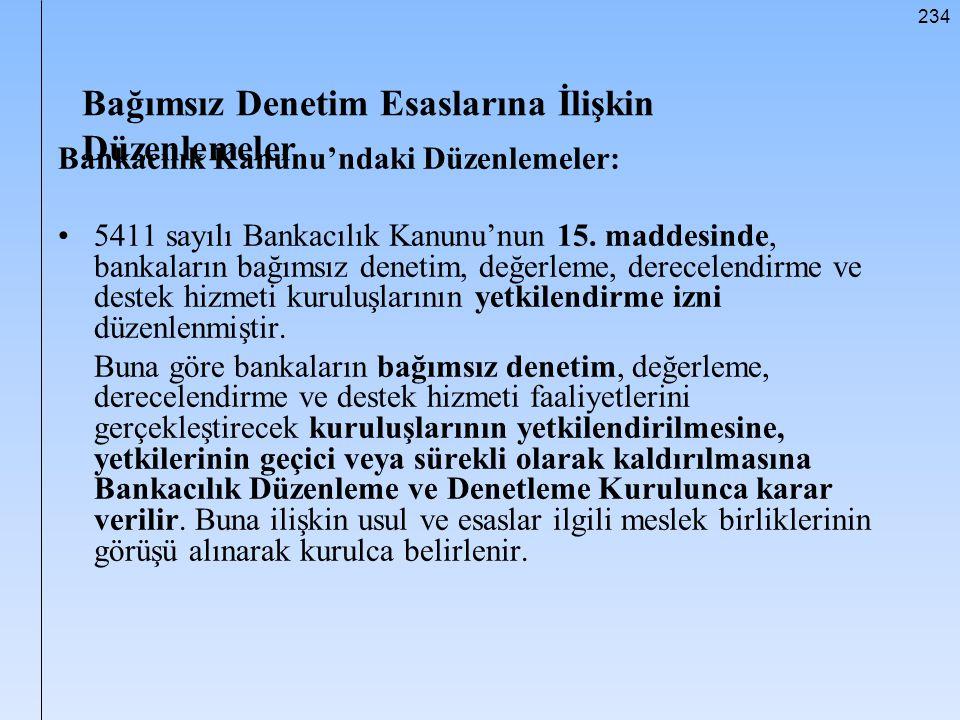 234 Bağımsız Denetim Esaslarına İlişkin Düzenlemeler Bankacılık Kanunu'ndaki Düzenlemeler: 5411 sayılı Bankacılık Kanunu'nun 15. maddesinde, bankaları