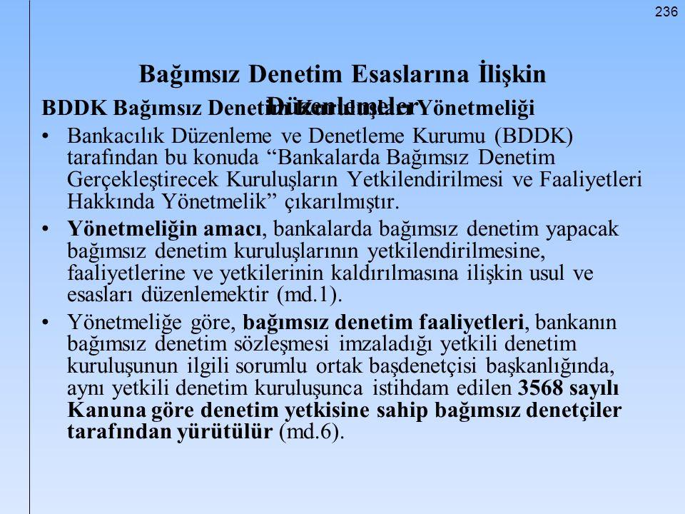 236 Bağımsız Denetim Esaslarına İlişkin Düzenlemeler BDDK Bağımsız Denetim Kuruluşları Yönetmeliği Bankacılık Düzenleme ve Denetleme Kurumu (BDDK) tar