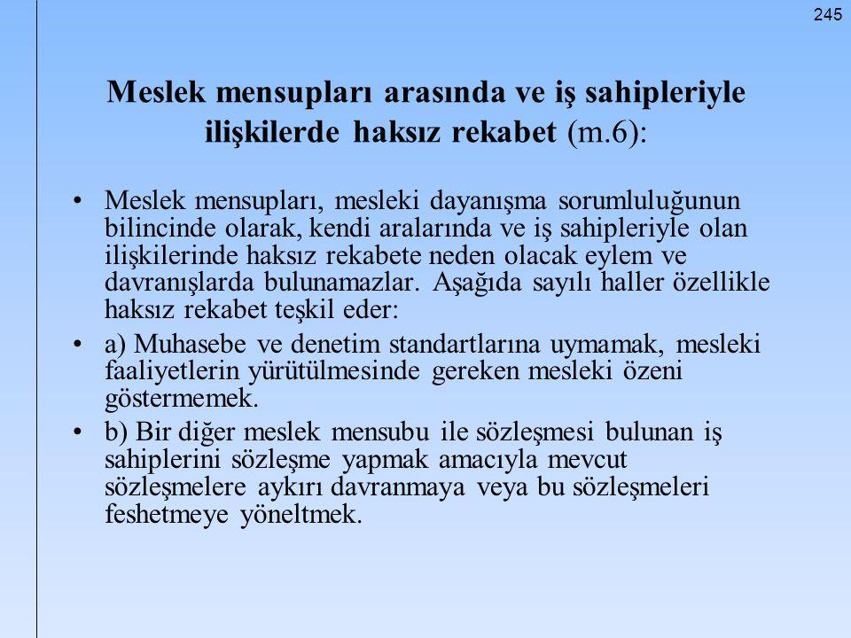 245 Meslek mensupları arasında ve iş sahipleriyle ilişkilerde haksız rekabet (m.6): Meslek mensupları, mesleki dayanışma sorumluluğunun bilincinde ola