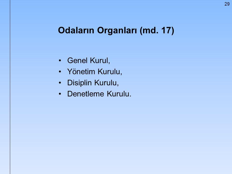 29 Odaların Organları (md. 17) Genel Kurul, Yönetim Kurulu, Disiplin Kurulu, Denetleme Kurulu.