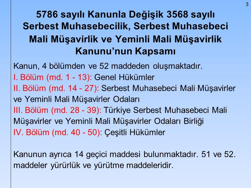 3 5786 sayılı Kanunla Değişik 3568 sayılı Serbest Muhasebecilik, Serbest Muhasebeci Mali Müşavirlik ve Yeminli Mali Müşavirlik Kanunu'nun Kapsamı Kanu