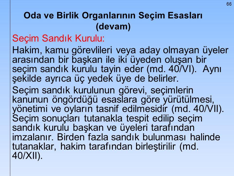 66 Oda ve Birlik Organlarının Seçim Esasları (devam) Seçim Sandık Kurulu: Hakim, kamu görevlileri veya aday olmayan üyeler arasından bir başkan ile ik