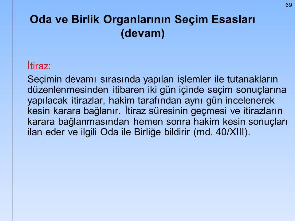 69 Oda ve Birlik Organlarının Seçim Esasları (devam) İtiraz: Seçimin devamı sırasında yapılan işlemler ile tutanakların düzenlenmesinden itibaren iki
