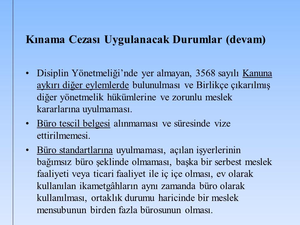 Kınama Cezası Uygulanacak Durumlar (devam) Disiplin Yönetmeliği'nde yer almayan, 3568 sayılı Kanuna aykırı diğer eylemlerde bulunulması ve Birlikçe çı