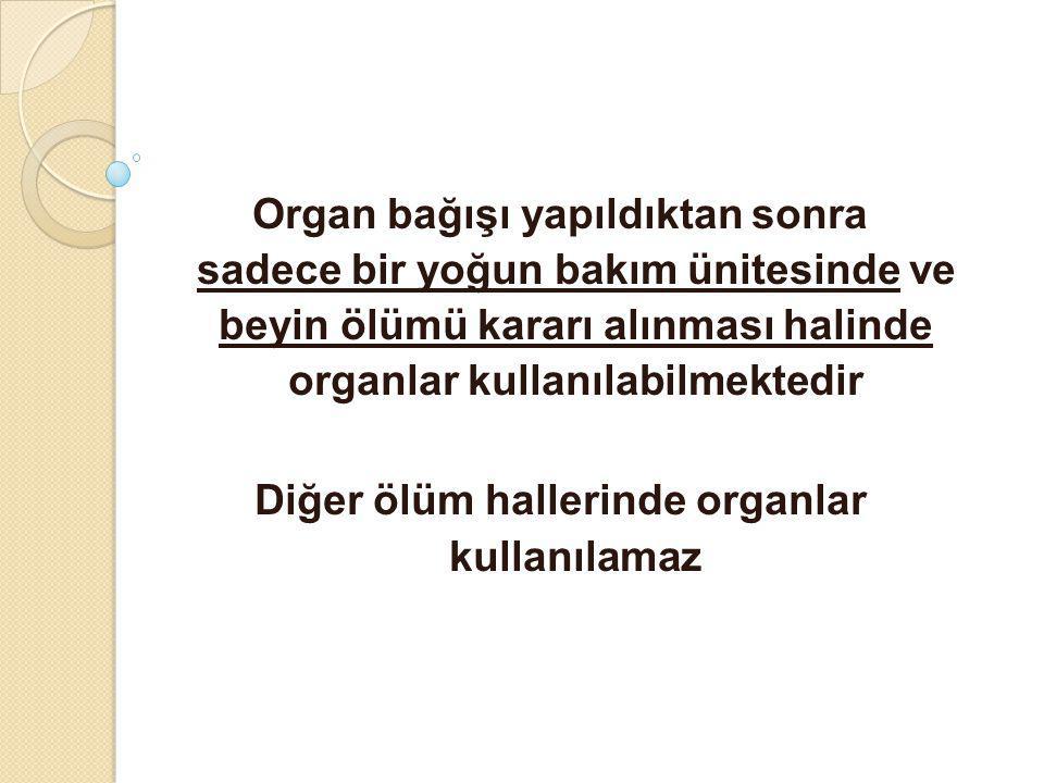 Organ bağışı yapıldıktan sonra sadece bir yoğun bakım ünitesinde ve beyin ölümü kararı alınması halinde organlar kullanılabilmektedir Diğer ölüm halle