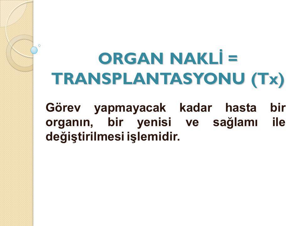 ORGAN NAKL İ = TRANSPLANTASYONU (Tx) Görev yapmayacak kadar hasta bir organın, bir yenisi ve sağlamı ile değiştirilmesi işlemidir.