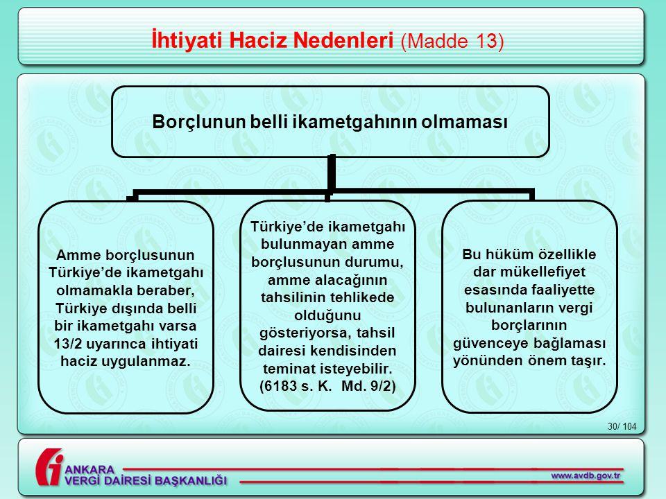 / 10430 İhtiyati Haciz Nedenleri (Madde 13) Borçlunun belli ikametgahının olmaması Amme borçlusunun Türkiye'de ikametgahı olmamakla beraber, Türkiye dışında belli bir ikametgahı varsa 13/2 uyarınca ihtiyati haciz uygulanmaz.