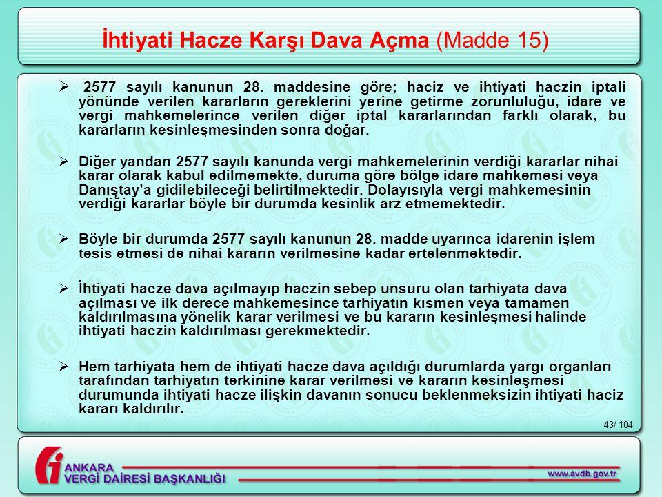 / 10443 İhtiyati Hacze Karşı Dava Açma (Madde 15)  2577 sayılı kanunun 28.