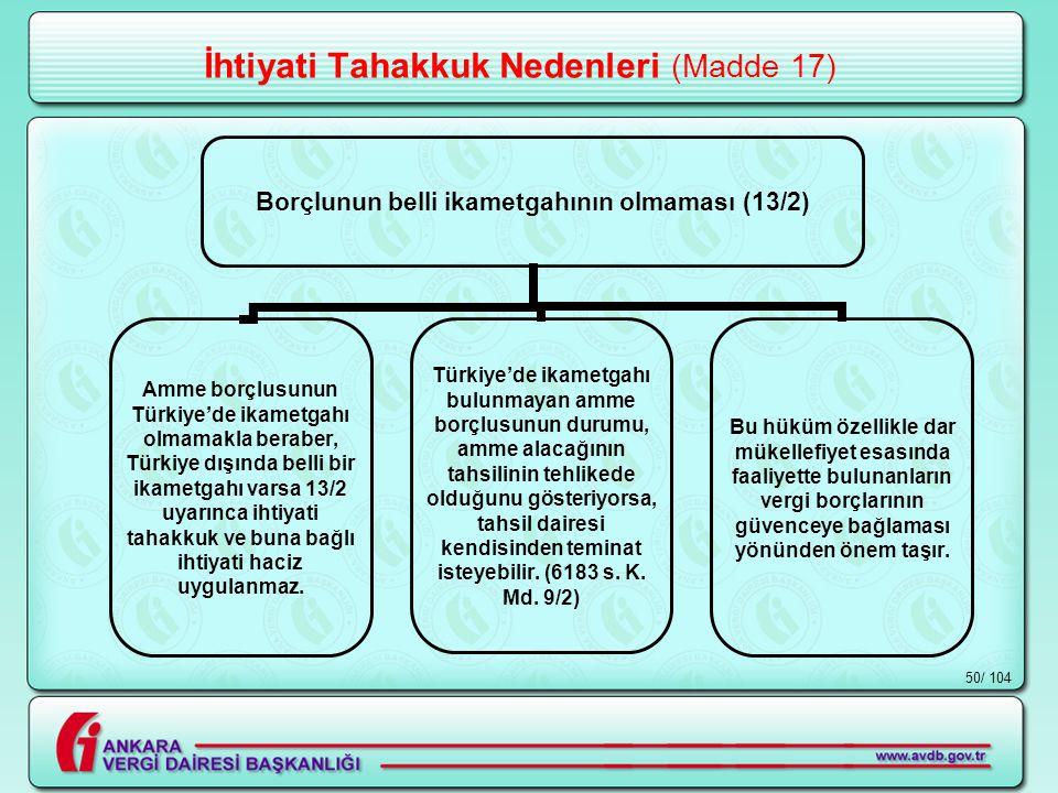 / 10450 İhtiyati Tahakkuk Nedenleri (Madde 17) Borçlunun belli ikametgahının olmaması (13/2) Amme borçlusunun Türkiye'de ikametgahı olmamakla beraber, Türkiye dışında belli bir ikametgahı varsa 13/2 uyarınca ihtiyati tahakkuk ve buna bağlı ihtiyati haciz uygulanmaz.