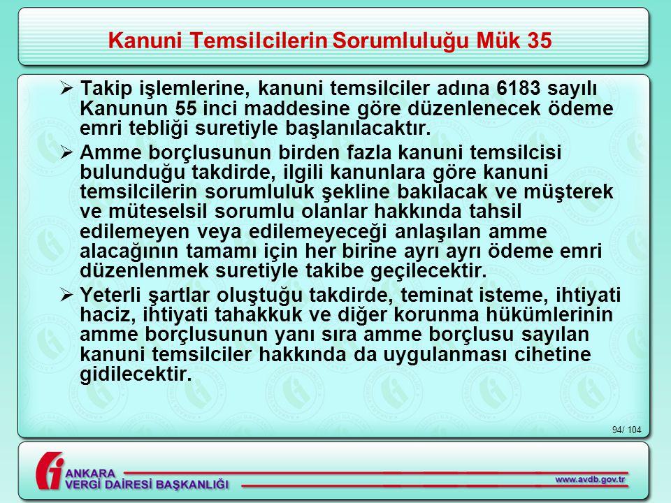 / 10494 Kanuni Temsilcilerin Sorumluluğu Mük 35  Takip işlemlerine, kanuni temsilciler adına 6183 sayılı Kanunun 55 inci maddesine göre düzenlenecek ödeme emri tebliği suretiyle başlanılacaktır.