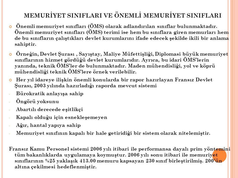 MEMURİYET SINIFLARI VE ÖNEMLİ MEMURİYET SINIFLARI Önemli memuriyet sınıfları (ÖMS) olarak adlandırılan sınıflar bulunmaktadır. Önemli memuriyet sınıfl