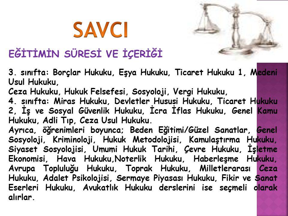 EĞİTİMİN SÜRESİ VE İÇERİĞİ 3. sınıfta: Borçlar Hukuku, Eşya Hukuku, Ticaret Hukuku 1, Medeni Usul Hukuku, Ceza Hukuku, Hukuk Felsefesi, Sosyoloji, Ver