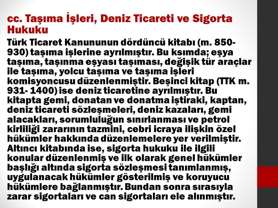 cc. Taşıma İşleri, Deniz Ticareti ve Sigorta Hukuku Türk Ticaret Kanununun dördüncü kitabı (m. 850- 930) taşıma işlerine ayrılmıştır. Bu ksımda; eşya