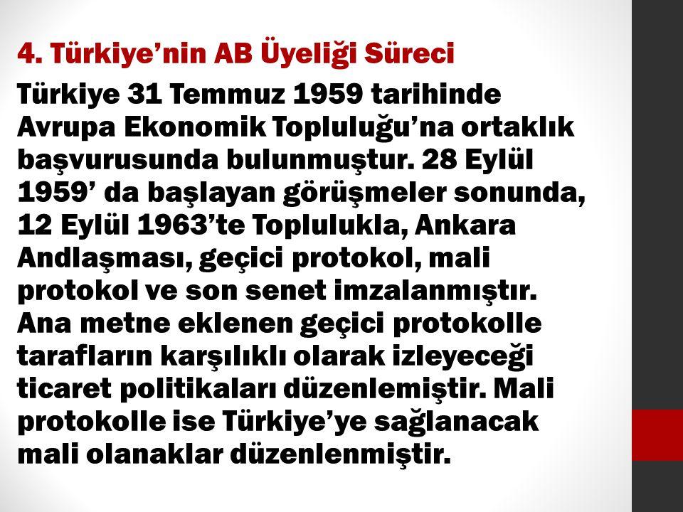 4. Türkiye'nin AB Üyeliği Süreci Türkiye 31 Temmuz 1959 tarihinde Avrupa Ekonomik Topluluğu'na ortaklık başvurusunda bulunmuştur. 28 Eylül 1959' da ba