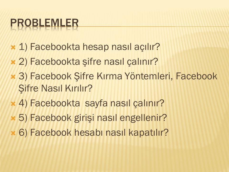  1) Facebookta hesap nasıl açılır?  2) Facebookta şifre nasıl çalınır?  3) Facebook Şifre Kırma Yöntemleri, Facebook Şifre Nasıl Kırılır?  4) Face