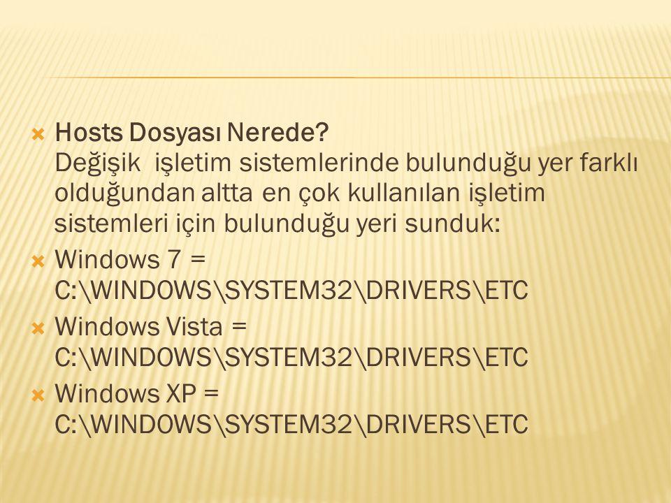  Hosts Dosyası Nerede? Değişik işletim sistemlerinde bulunduğu yer farklı olduğundan altta en çok kullanılan işletim sistemleri için bulunduğu yeri s