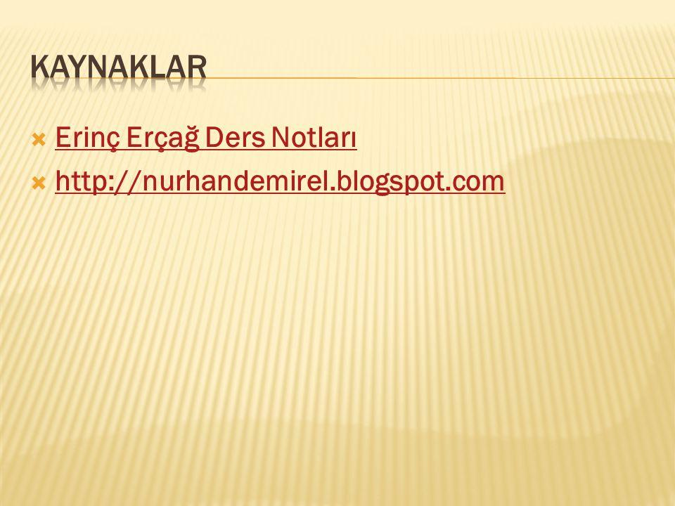 Erinç Erçağ Ders Notları Erinç Erçağ Ders Notları  http://nurhandemirel.blogspot.com http://nurhandemirel.blogspot.com