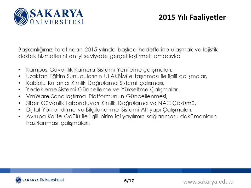 www.sakarya.edu.tr Başkanlığımız tarafından 2015 yılında başlıca hedeflerine ulaşmak ve lojistik destek hizmetlerini en iyi seviyede gerçekleştirmek a