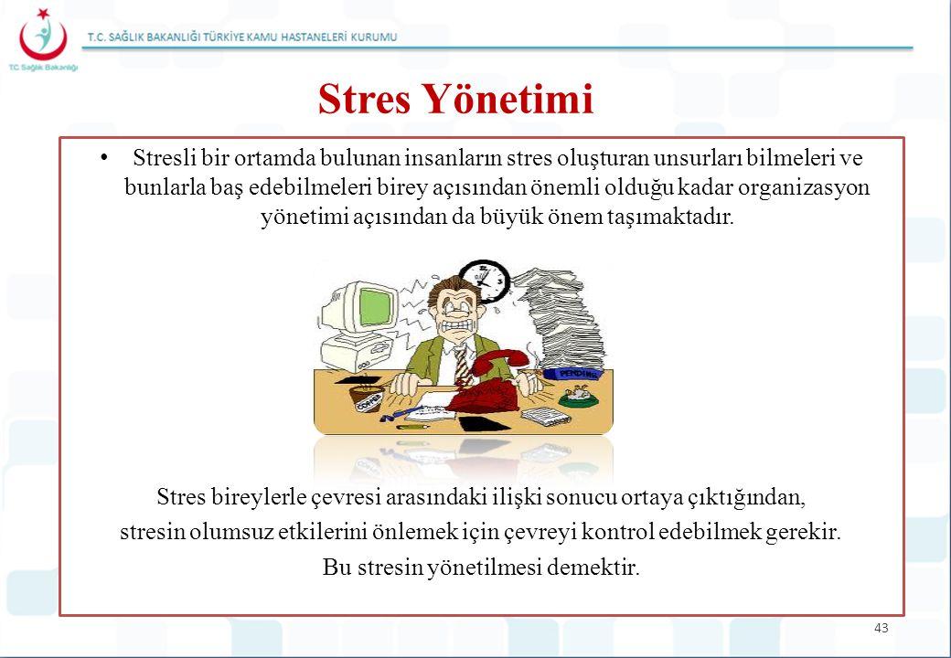 43 Stres Yönetimi Stresli bir ortamda bulunan insanların stres oluşturan unsurları bilmeleri ve bunlarla baş edebilmeleri birey açısından önemli olduğ