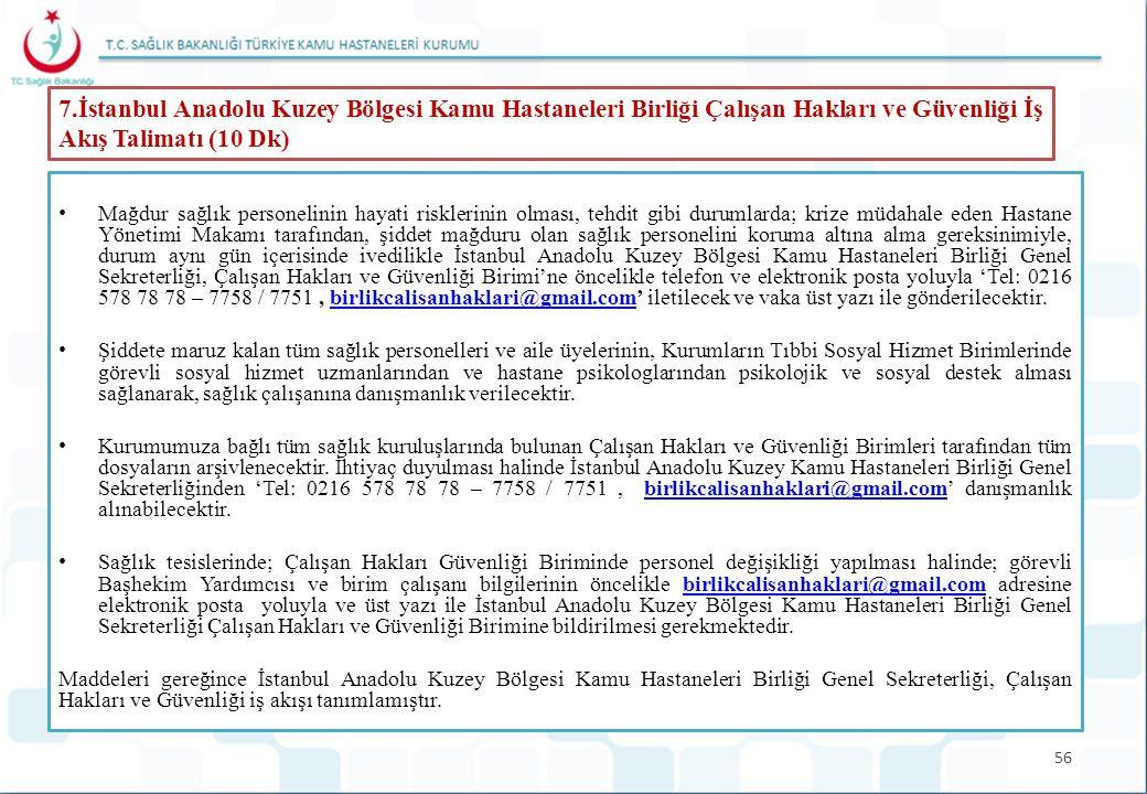 56 7.İstanbul Anadolu Kuzey Bölgesi Kamu Hastaneleri Birliği Çalışan Hakları ve Güvenliği İş Akış Talimatı (10 Dk) Mağdur sağlık personelinin hayati r