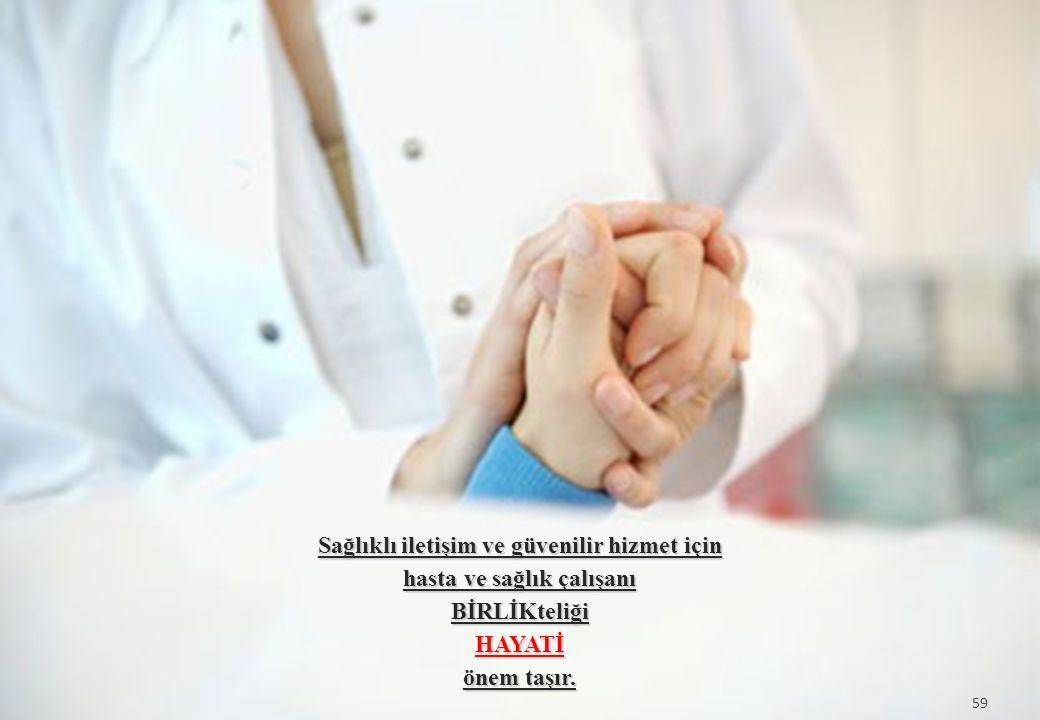 59 Sağlıklı iletişim ve güvenilir hizmet için hasta ve sağlık çalışanı BİRLİKteliğiHAYATİ önem taşır. 59