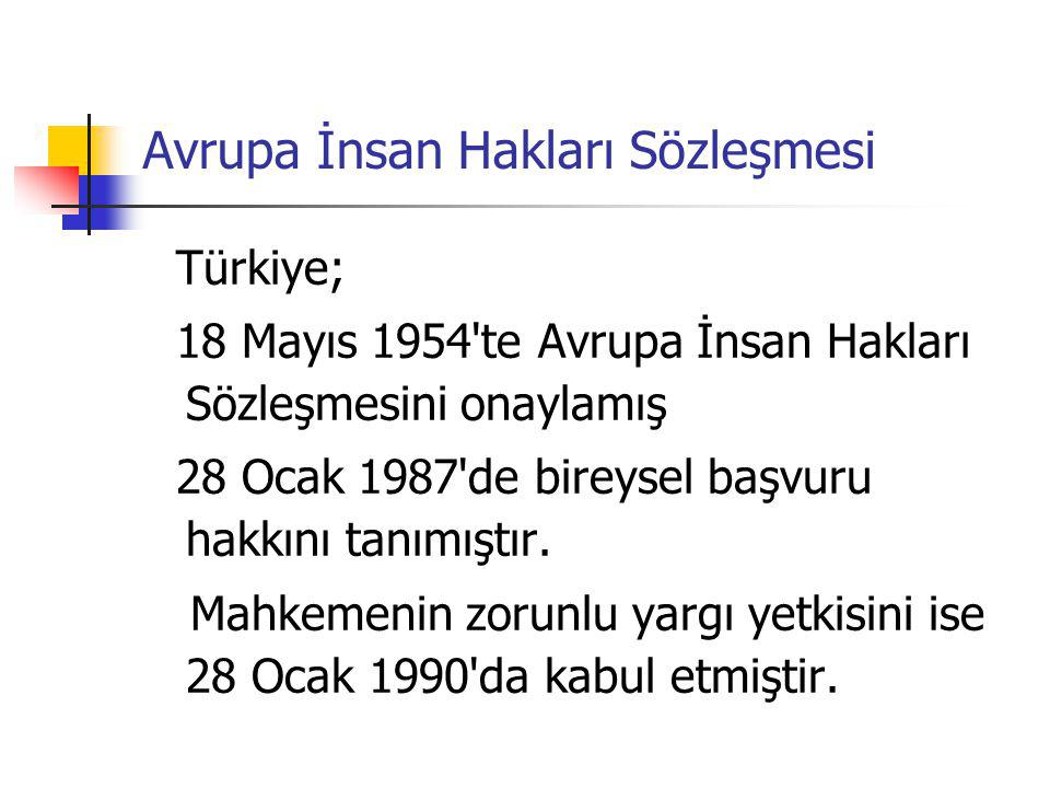 Avrupa İnsan Hakları Sözleşmesi Türkiye; 18 Mayıs 1954'te Avrupa İnsan Hakları Sözleşmesini onaylamış 28 Ocak 1987'de bireysel başvuru hakkını tanımış