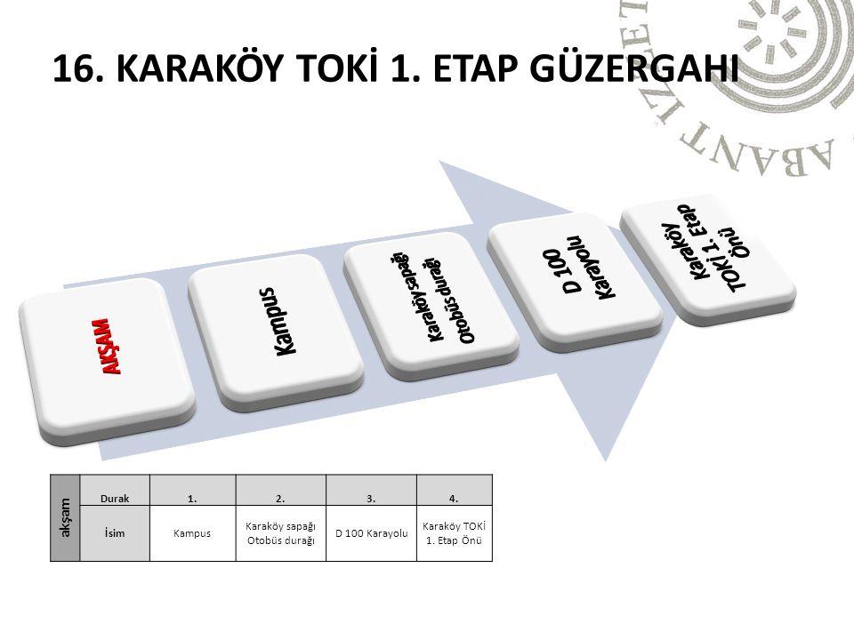16. KARAKÖY TOKİ 1. ETAP GÜZERGAHI akşam Durak1.2.3.4. İsimKampus Karaköy sapağı Otobüs durağı D 100 Karayolu Karaköy TOKİ 1. Etap Önü