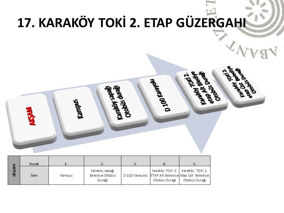 akşam Durak1.2.3.4.5. İsimKampus Karaköy sapağı Belediye Otobüs Durağı D 100 Karayolu Karaköy TOKİ 2. ETAP Alt Belediye Otobüs Durağı Karaköy TOKİ 2.