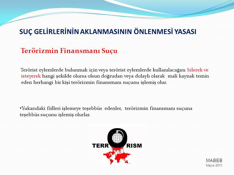 SUÇ GELİRLERİNİN AKLANMASININ ÖNLENMESİ YASASI Terörizmin Finansmanı Suçu Terörist eylemlerde bulunmak için veya terörist eylemlerde kullanılacağını b