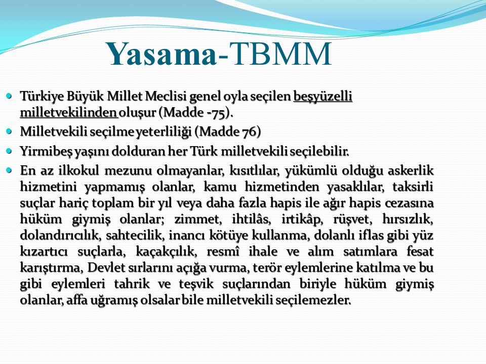 Türkiye Büyük Millet Meclisinin seçim dönemi Türkiye Büyük Millet Meclisinin seçimleri dört yılda bir yapılır.(Madde -77) Türkiye Büyük Millet Meclisinin seçimleri dört yılda bir yapılır.(Madde -77) Meclis, bu süre dolmadan seçimin yenilenmesine karar verebileceği gibi, Anayasada belirtilen şartlar altında Cumhurbaşkanınca verilecek karara göre de seçimler yenilenir.