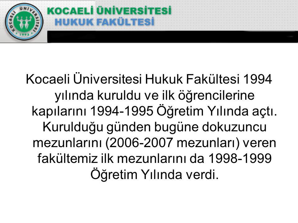 Kocaeli Üniversitesi Hukuk Fakültesi 1994 yılında kuruldu ve ilk öğrencilerine kapılarını 1994-1995 Öğretim Yılında açtı.