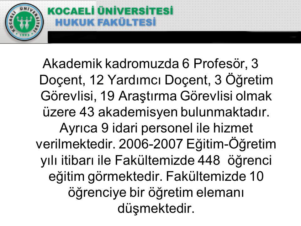Akademik kadromuzda 6 Profesör, 3 Doçent, 12 Yardımcı Doçent, 3 Öğretim Görevlisi, 19 Araştırma Görevlisi olmak üzere 43 akademisyen bulunmaktadır.