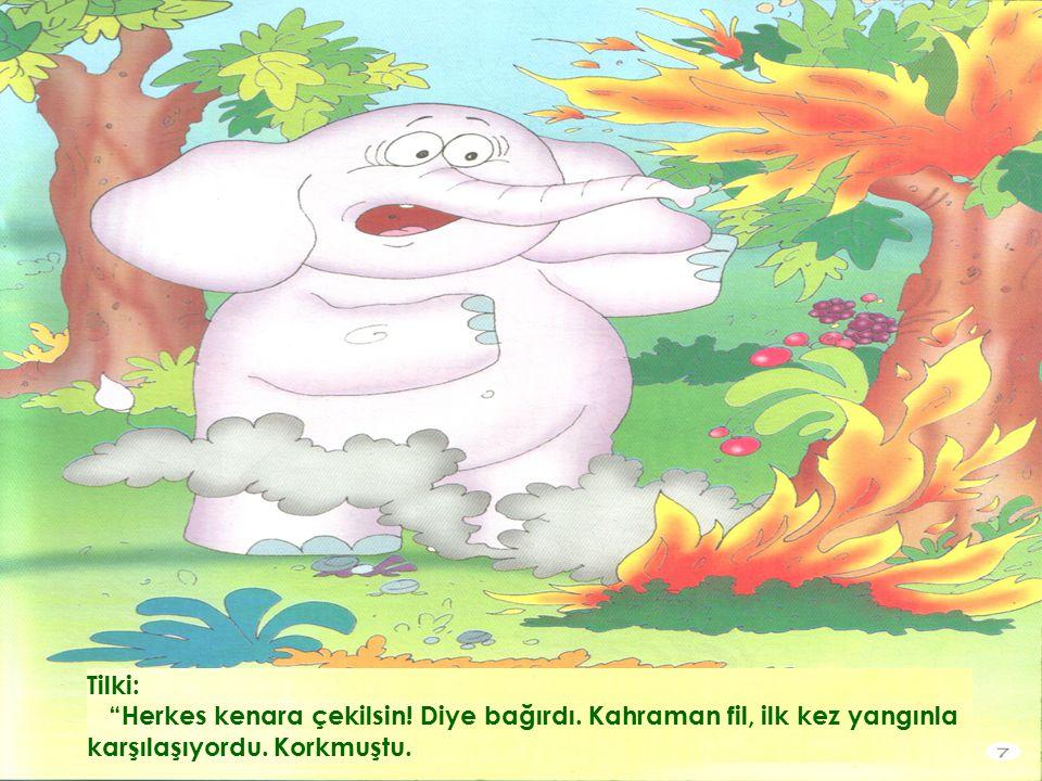 Tilki: Herkes kenara çekilsin.Diye bağırdı. Kahraman fil, ilk kez yangınla karşılaşıyordu.