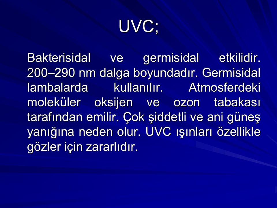 UVC; Bakterisidal ve germisidal etkilidir. 200–290 nm dalga boyundadır. Germisidal lambalarda kullanılır. Atmosferdeki moleküler oksijen ve ozon tabak