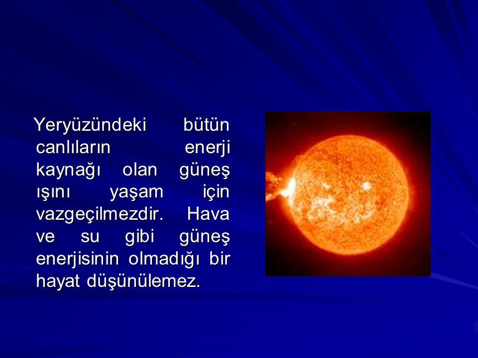 Yeryüzündeki bütün canlıların enerji kaynağı olan güneş ışını yaşam için vazgeçilmezdir. Hava ve su gibi güneş enerjisinin olmadığı bir hayat düşünüle