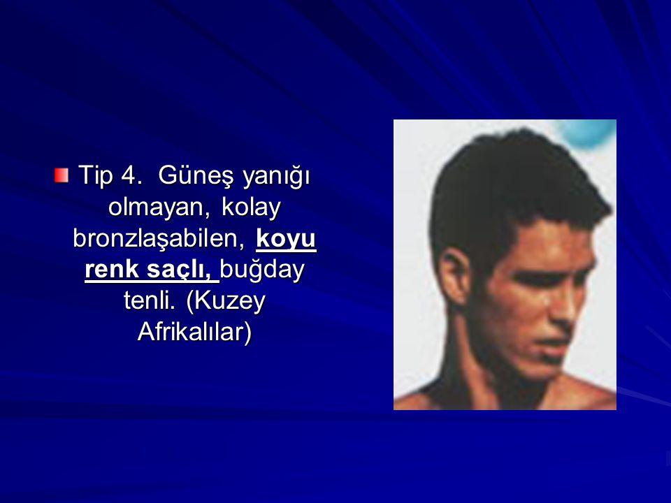 Tip 4. Güneş yanığı olmayan, kolay bronzlaşabilen, koyu renk saçlı, buğday tenli. (Kuzey Afrikalılar)
