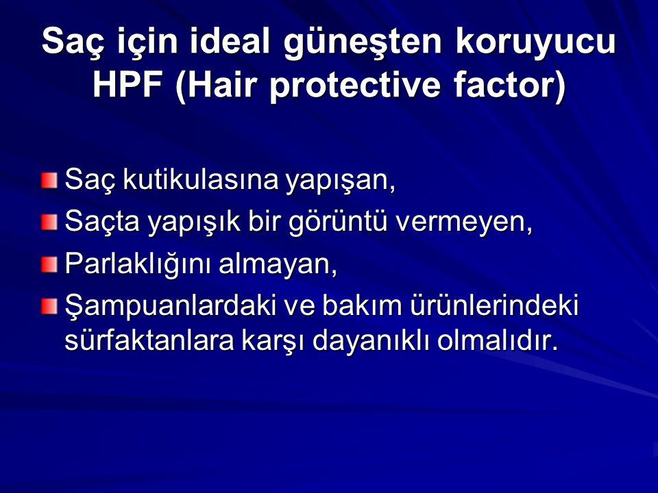 Saç için ideal güneşten koruyucu HPF (Hair protective factor) Saç kutikulasına yapışan, Saçta yapışık bir görüntü vermeyen, Parlaklığını almayan, Şamp