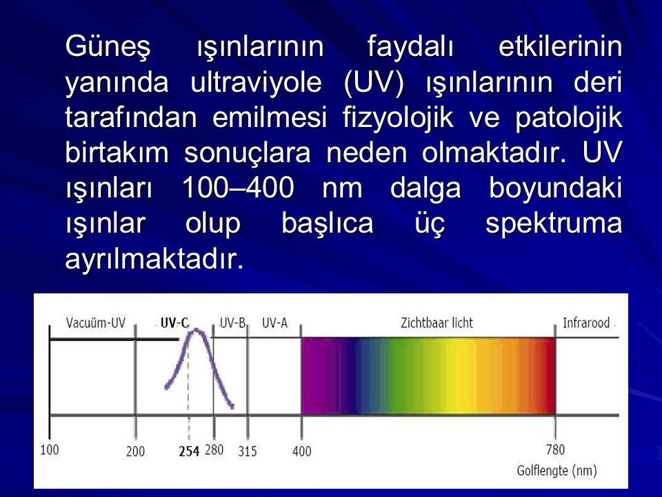 Güneş ışınlarının faydalı etkilerinin yanında ultraviyole (UV) ışınlarının deri tarafından emilmesi fizyolojik ve patolojik birtakım sonuçlara neden o