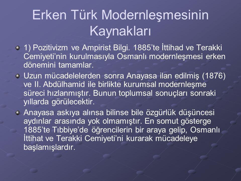 Erken Türk Modernleşmesinin Kaynakları 1) Pozitivizm ve Ampirist Bilgi. 1885'te İttihad ve Terakki Cemiyeti'nin kurulmasıyla Osmanlı modernleşmesi erk