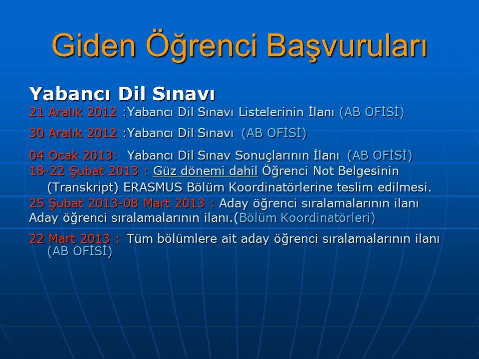Yabancı Dil Sınavı 21 Aralık 2012 :Yabancı Dil Sınavı Listelerinin İlanı (AB OFİSİ) 30 Aralık 2012 :Yabancı Dil Sınavı (AB OFİSİ) 04 Ocak 2013: Yabanc