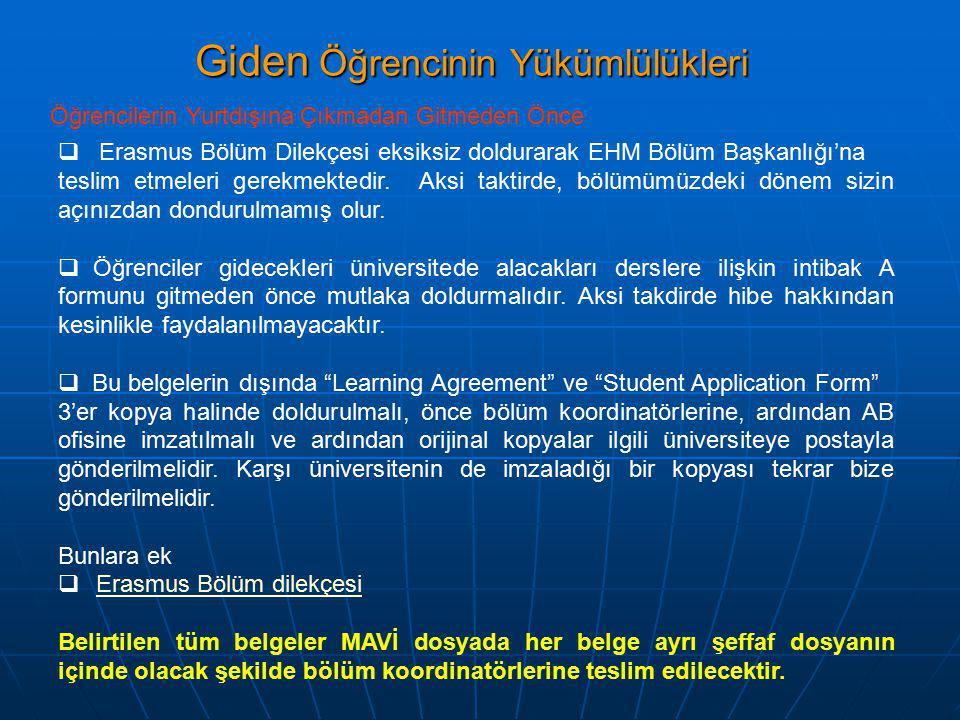 Giden Öğrencinin Yükümlülükleri Öğrencilerin Yurtdışına Çıkmadan Gitmeden Önce  Erasmus Bölüm Dilekçesi eksiksiz doldurarak EHM Bölüm Başkanlığı'na teslim etmeleri gerekmektedir.