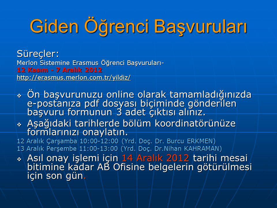 Giden Öğrenci Başvuruları Süreçler: Merlon Sistemine Erasmus Öğrenci Başvuruları- 12 Kasım - 7 Aralık 2012 http://erasmus.merlon.com.tr/yildiz/  Ön başvurunuzu online olarak tamamladığınızda e-postanıza pdf dosyası biçiminde gönderilen başvuru formunun 3 adet çıktısı alınız.