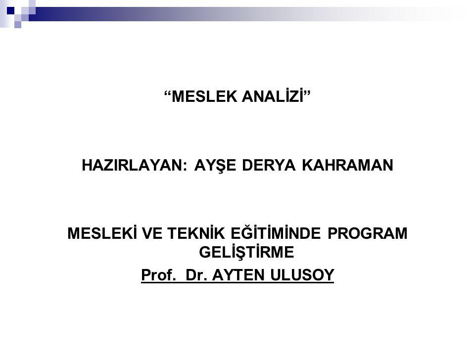 """""""MESLEK ANALİZİ"""" HAZIRLAYAN: AYŞE DERYA KAHRAMAN MESLEKİ VE TEKNİK EĞİTİMİNDE PROGRAM GELİŞTİRME Prof. Dr. AYTEN ULUSOY"""