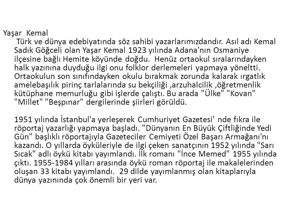 Yaşar Kemal Türk ve dünya edebiyatında söz sahibi yazarlarımızdandır.
