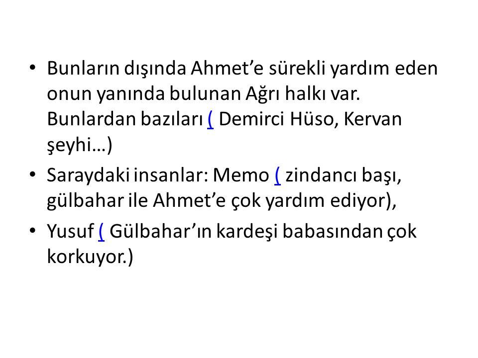 Bunların dışında Ahmet'e sürekli yardım eden onun yanında bulunan Ağrı halkı var.