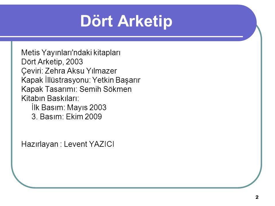 2 Dört Arketip Metis Yayınları'ndaki kitapları Dört Arketip, 2003 Çeviri: Zehra Aksu Yılmazer Kapak İllüstrasyonu: Yetkin Başarır Kapak Tasarımı: Semi