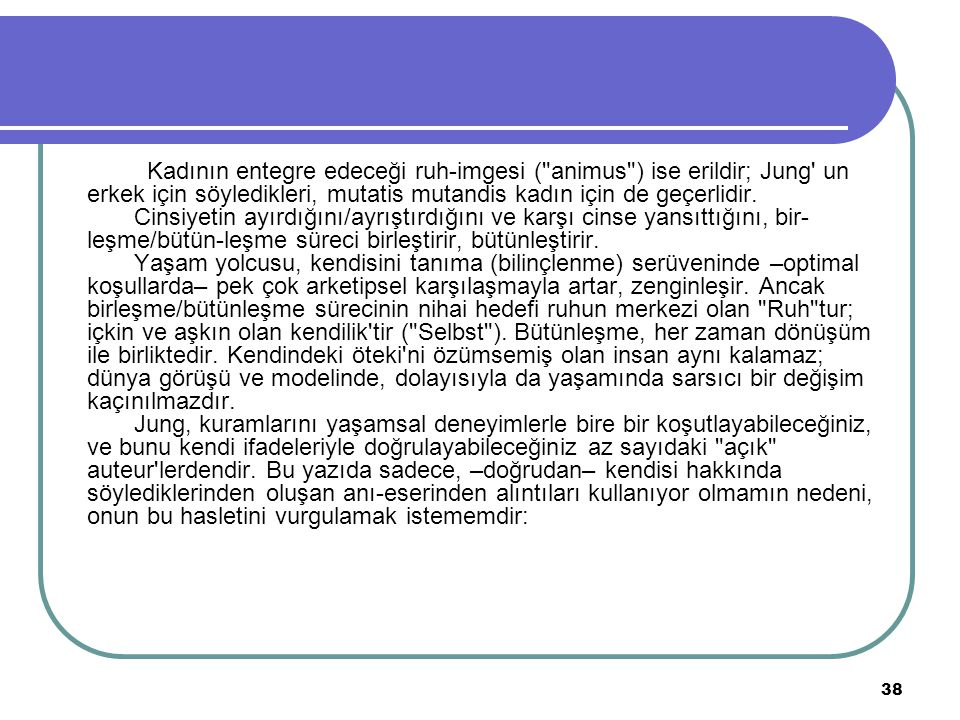 38 Kadının entegre edeceği ruh-imgesi (